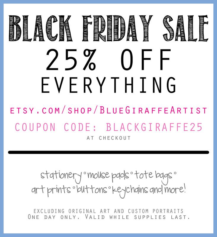 Blue giraffe art works blog for Society 6 discount code
